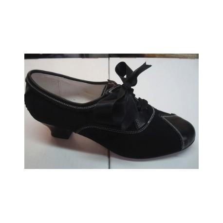 Zapato Regional Mujer Ante Y Piel Tacón Bajo